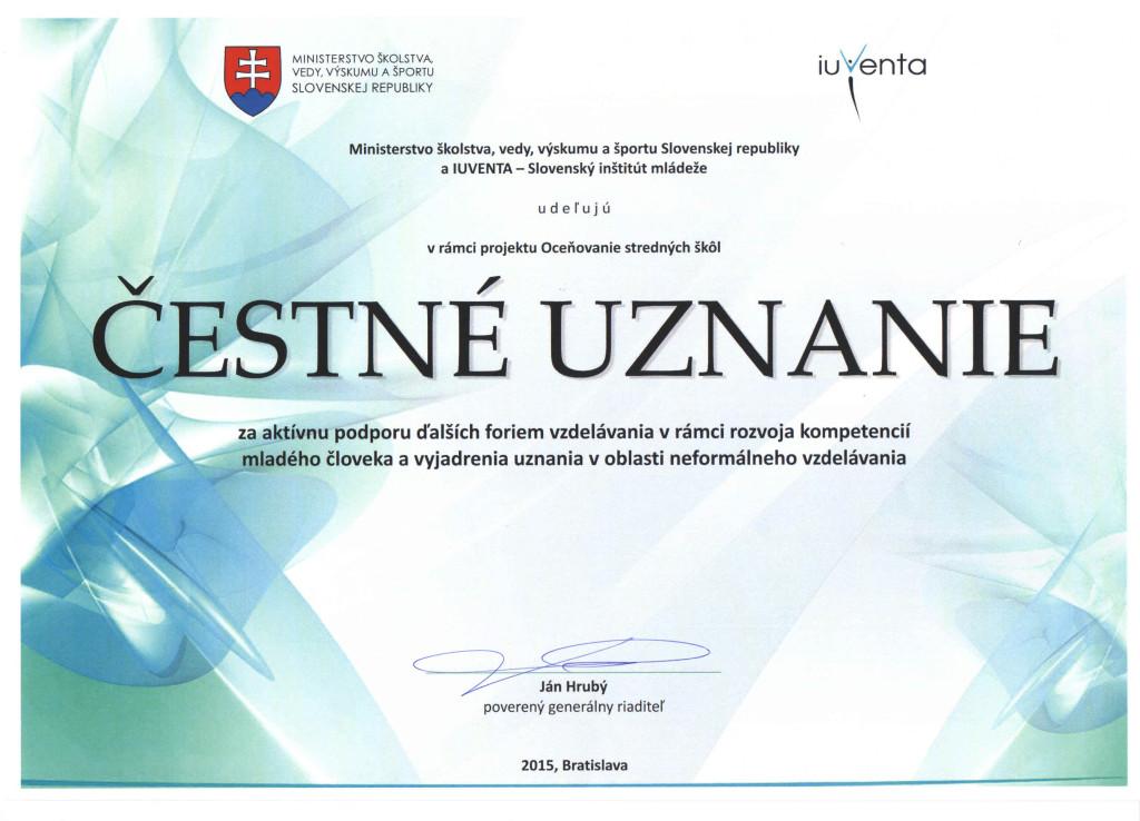 Čestné uznanie - Obchodná akadémia Žilina
