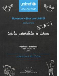 Škola priateľská k deťom - Obchodná akadémia Žilina